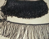 "RESERVED for shaynoble - Antique Cut Jet Black Beaded Trim - 36"" length each piece - Appliques for 1800s Victorian to 1920s - Lots of Beads"