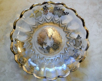 Dorothy Thorpe - Large Bowl with Raised Sterling Silver Overlay  - Floral Fruit Bowl - Mid Century circa 1950s - Silver Anniversary Gift