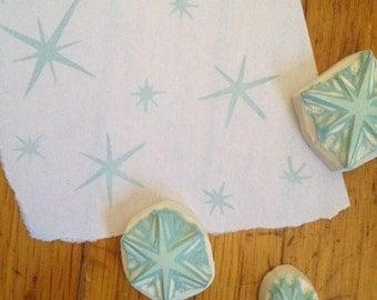 Sparkle Stars Rubber Stamp Set Hand Carved