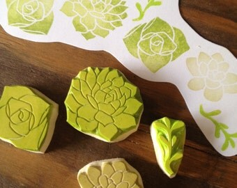 Succulents Hand Carved Rubber Stamp Set