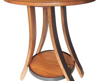 Cricket, oval recycled oak wine barrel end or side table, 4 legs