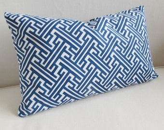 TRELLIS COBALT blue/white lumbar decorative Pillow Cover 12x18 12x20 12x22 12x24 12x26