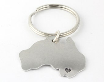 Personalized Australia Keychain - Hand Stamped Down Under Country Outline - Long Distance Romance Key Fob - Best Friend Gift