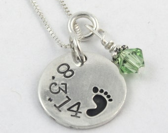 Personalized Sterling Silver Baby Foot Birthstone Necklace - Custom Necklace - Gift for New Mom or Grandma - Push Present - Baby Shower