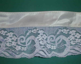 Trim White satin polyester - pleated lace 10 yds  3-1/2 in wide