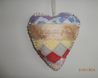 "VINTAGE QUILT HEART Pillow  ""With Lots of Love"" french silk ribbon inscribed trim for Valentine's Day"