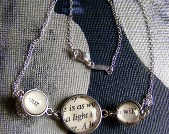 Sterling silver necklace Poetry necklace  - Our love is as a light in a wild wood - for the romantic in you