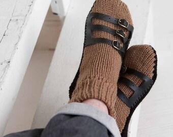 Mens Slipper Socks Mens Knit Slippers Brown Black Sandal Sock Mens House Slippers Mens Knit Socks Leather Straps