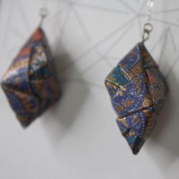 Handmade Origami Earrings, Modular, folded paper, custom earrings, gift, paper art, asian, japanese, custom, dangle, sterling silver, gold