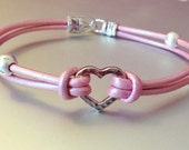 Pink Pearl Leather and Silver Heart Bracelet