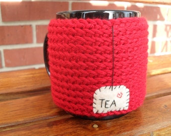 knitted tea mug cozy tea cup cozy in true red with hanging tea patch and heart