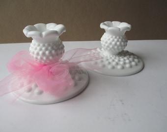 Vintage Fenton Milk Glass Hobnail Candleholder Pair