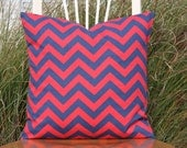 Red and Navy Chevron Pillow Cover - Rugby Style - 20 x 20