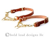 Martingale Collar--adjustable leather and chain collar in BLACK or TAN