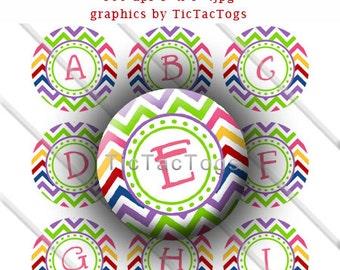 Multi-color Chevron Alphabet Bottle Cap Digital Art Collage Set 1 Inch Circle A-Z Digi - Instant Download - BC230