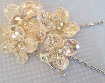Gold Hydrangea Bobby Pins Bridal Pin Hair Flower Girl Hydrangea Hair Clip Bobbies Set