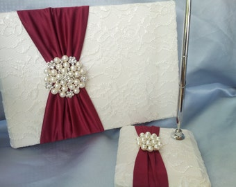 Dark Red Apple Ivory Lace Wedding Guest Book and Pen Set Ivory Bridal Lace Pearl Rhinestone Accent Unique Latte