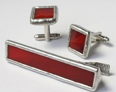 Cherry - Mens Stained Glass Cuff Link and Tie Bar Clip Set