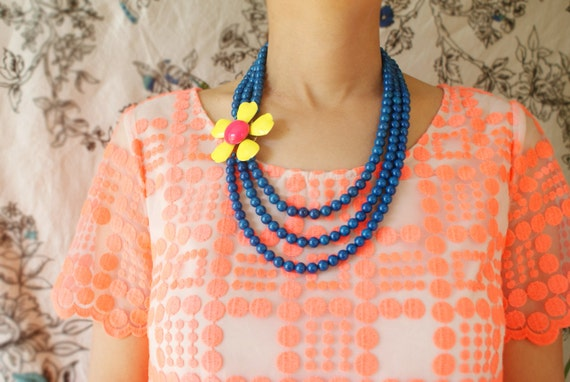 Statement necklace, Vintage yellow pink floral brooch, teal blue statement necklace, bright statement jewelry ready to ship, gift for her
