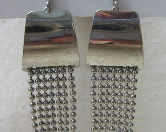 Silver Modern Dangle Earrings Clip Vintage Sarah Coventry