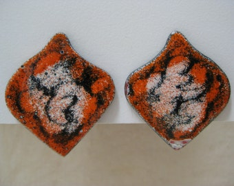 Orange Black White Earrings Screw Copper Enamel Vintage