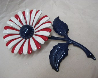 Flower Red White Blue Brooch Enamel Vintage Pin