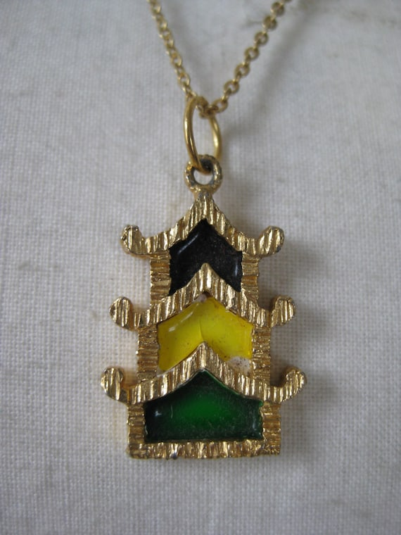 asian necklace gold yellow black green pendant house vintage