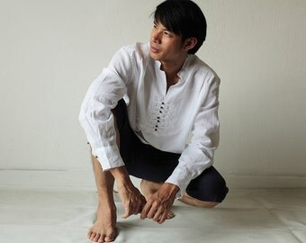 100% Linen long sleeve men's shirt (B 5704)