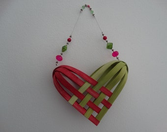Hand Woven Basket in Chartreuse and Fuchsia (bright pink) with beaded handle. Heart Basket.  Gift basket. Hand made baskets in fun colors.