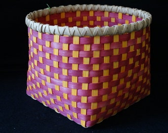 Hand Woven Basket in Dark Pink and Sunshine Orange. Storage Basket. Large Storage Basket. Hand made baskets in fun colors!