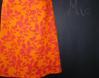 A-line SKIRT - Orange and Red Flower Skirt - Made in ANY Size - Boutique Mia