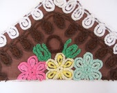 Vintage Brown Chenille with Pink, Yellow and Mint Green Flowers for Crafting