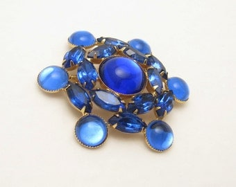 Large Rhinestone Brooch Blue Glass Vintage Jewelry P5965