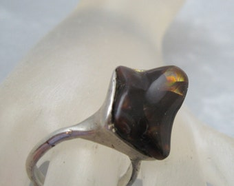 Modernist Sterling Cantera Opal Ring Vintage Jewelry R6034