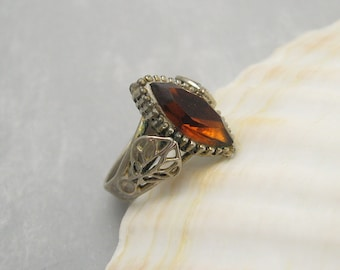 Vintage Rhinestone Ring Brown Marquise Costume Jewelry R6094