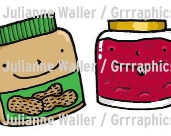 Power couples - peanut butter and jam digital illustration