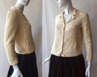 1960's Country Miss linen jacket, maize and golden yellow floral print, small / medium (6 - 8)
