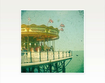 Carousel Photography, Seaside Decor, Nursery Art, Green and Gold, Kids Decor - Carousel by the Sea
