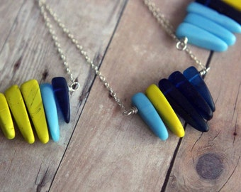 Glass Spike Necklace  Sunny Yellow, Dark Blue, Light Sky Blue  Silver Chain  Summer Necklace  Gift Box