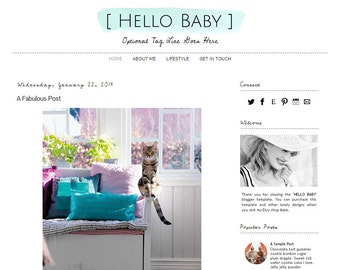 Premade Blogger Template - HELLO BABY -  Mobile Responsive - Graphic Design - Blog Template