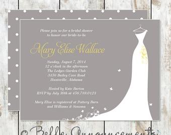Modern Grey and Yellow Bridal Shower Invitation - Bridal Silhouette Shower Invitation - Wedding Dress Invitation