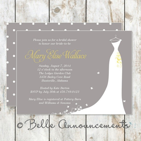 Modern grey and yellow bridal shower invitation by rocketliv for Yellow bridal shower invitations