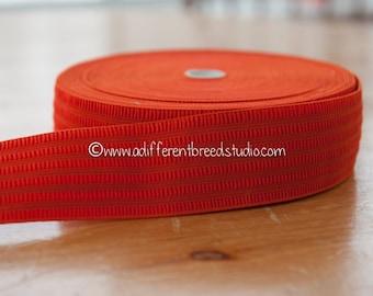 3 yards Geometric Belting- Vintage Trim Juvenile 70s 80s New Old Stock Bold Orange Stretch Elastic