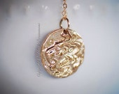 Ancient Lion Head Coin Necklace - Natural Bronze Charm Pendant - 14K Gold Filled Delicate Chain - Free Domestic Shipping
