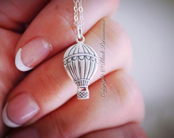 Hot Air Balloon Necklace - Solid Sterling Silver Charm Pendant- Insurance Included