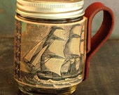 Leather mason jar cozy// ship on leather