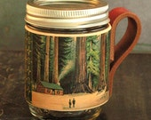 Mason jar sleeve. Reuseable cup. Leather. Big trees. Redwoods. Forest.