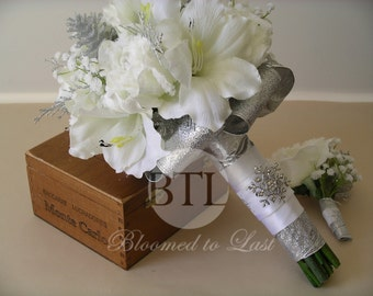 Winter Wedding BOUQUET & BOUTONNIERE SET in White and Silver with Snowflake