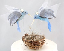 Blue Hummingbird Wedding Cake Topper: Bride & Bride Lesbian Love Bird Cake Topper -- Two Brides -- LoveNesting Cake Toppers