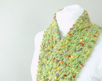 Handknit Green Lace City Scarf for Her - Fuzzy Green Scarf - Field of Flowers for Woman